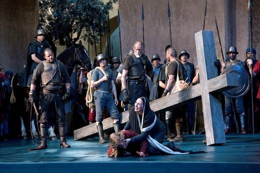 The road to Golgotha, stations of the cross, via Dolorosa, Jesus is scourged and falls underneath the cross, Mary meeting her son, Passion Play 2010, Oberammergau, Bavaria, Germany, Europe : Stock Photo