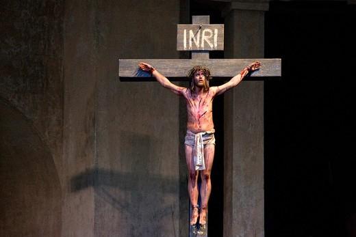 The crucifixion of Jesus Christ, Passion Play 2010, Oberammergau, Bavaria, Germany, Europe : Stock Photo