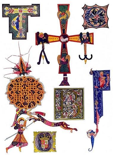 Stock Photo: 1848-40884 Spanish manuscripts of various eras, Middle Ages, medieval ornament in Spain, Monumentos de Espana