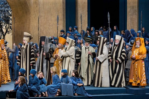 Stock Photo: 1848-408961 The high priests and scribes are observing the expulsion of the temple merchants, Passion Play 2010, Oberammergau, Bavaria, Germany, Europe