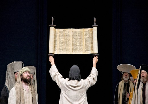 Jesus holding up the Torah in the temple, Jewish Hebrew scroll, Passion Play 2010, Oberammergau, Bavaria, Germany, Europe : Stock Photo