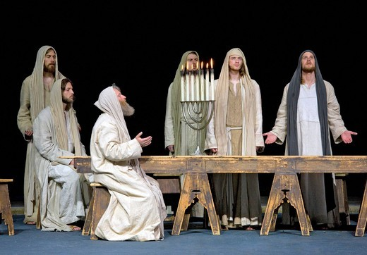 Stock Photo: 1848-408963 The Passover meal, the Last Supper, menorah, Jewish candelabra, Jesus praying with his disciples, Passion Play 2010, Oberammergau, Bavaria, Germany, Europe