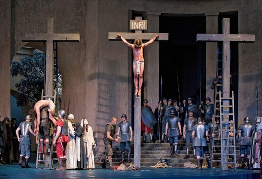 The crucifixion of Jesus Christ, Passion Play 2010, Oberammergau, Bavaria, Germany, Europe : Stock Photo