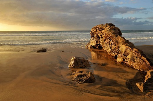 Rocks at the beach of El Cotillo, Fuerteventura, Canary Islands, Spain, Europe : Stock Photo