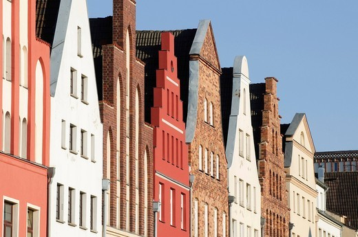 Gables of the old town, Rostock, Mecklenburg_Western Pomerania, Germany, Europe : Stock Photo