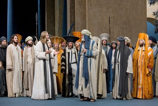 Jesus warning the high priests and scribes, temple cleaning, Passion Play 2010, Oberammergau, Bavaria, Germany, Europe : Stock Photo