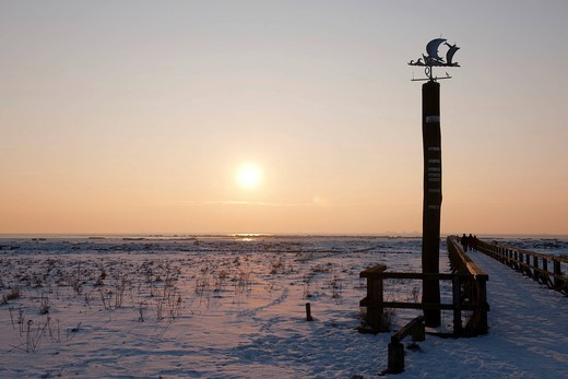 Stock Photo: 1848-409480 Weather vane on the snowy and icy North Sea, pier, Husum, North Friesland, Schleswig_Holstein, northern Germany, Europe