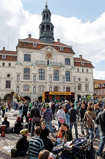 Anti_nuclear demonstrators outside the historical town hall, old town, Lueneburg, Lower Saxony, Germany, Europe : Stock Photo