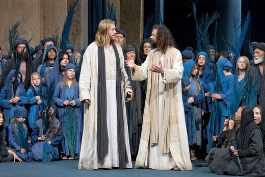 Jesus in conversation with one of his disciples, Passion Play 2010, Oberammergau, Bavaria, Germany, Europe : Stock Photo