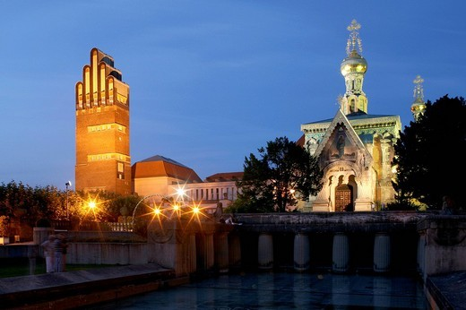 Hochzeitsturm tower and the Russian chapel of the Mathildenhoehe artist´s colony, Darmstadt, Hesse, Germany, Europe : Stock Photo