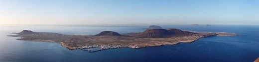 Stock Photo: 1848-410188 Islands of La Graciosa, Montaña Clara and Alegranza, view from Mirador del Rio, Lanzarote, Canary Islands, Spain, Europe