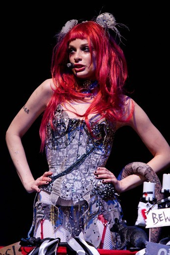 Stock Photo: 1848-410436 American musician, lyricist, songwriter, singer and author Emilie Autumn performing live at her only Swiss concert in Club Haerterei in Zurich, Switzerland, Europe