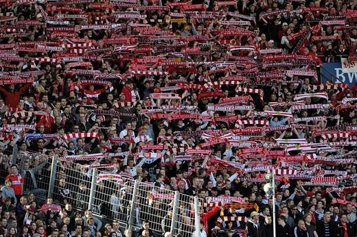 Fanblock VfB Stuttgart, Mercedes_Benz Arena, Stuttgart, Baden_Wuerttemberg, Germany, Europe : Stock Photo