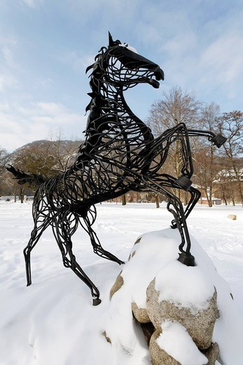 Stock Photo: 1848-410679 Wotan´s eight_legged horse Sleipnir, figure on the Mythenweg Germanic myth road, Thale, Harz, Saxony_Anhalt, Germany, Europe