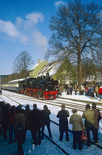 Stock Photo: 1848-410851 Steam train excursion from Muenster with P8 class loco no. 38 1772 at Warstein, North Rhine_Westphalia, Germany, Europe