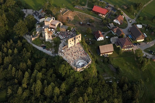 Aerial view, Finkenstein castle ruins, Carinthia, Austria, Europe : Stock Photo