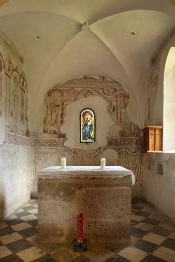 Maria Woerth, winter church, frescoes, Carinthia, Austria, Europe : Stock Photo