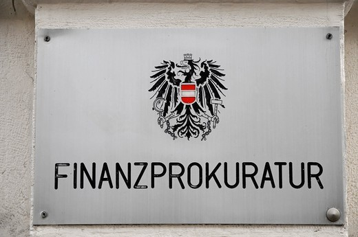 Sign Finanzprokuratur, attorney general, Vienna, Austria, Europe : Stock Photo