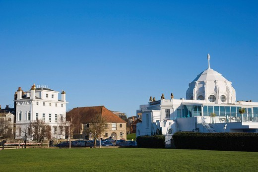 Stock Photo: 1848-411019 Royal Yacht Club and Wool House, Southampton Maritime Museum and Royal Pier, Thai Restaurant, Southampton, Hampshire, England, United Kingdom, Europe