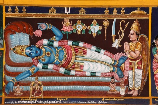Stock Photo: 1848-411184 Mural art in the Srivilliputhur Andal temple, Srivilliputtur, Tamil Nadu, Tamilnadu, South India, India, Asia