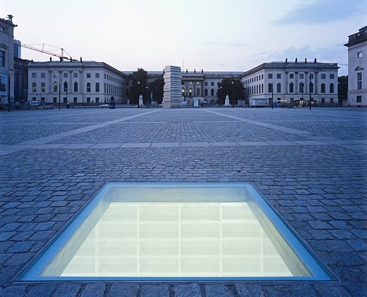 Versunkene Bibliothek, Sunken Library, by Micha Ullman, Monument for the burning of books in 1933 on Bebelplatz square, Berlin, Germany, Europe : Stock Photo