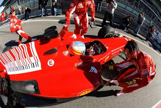 Fernando ALONSO, ESP, in the Ferrari F10 racer during Formula 1 tests on Circuito de Catalunya, Spain, Europe, 26.2.2010 : Stock Photo