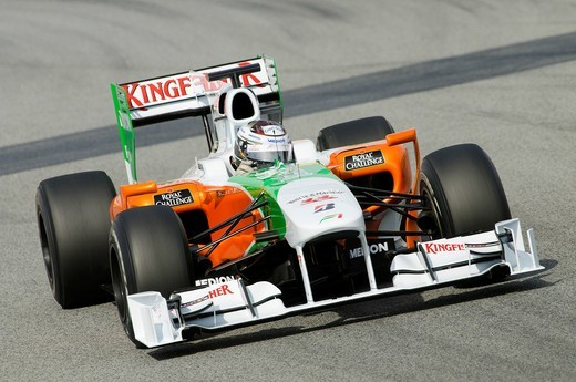 Stock Photo: 1848-411295 Adrian SUTIL, GER, in the Force India VJM03 during Formula 1 tests on the Circuit de Catalunya racetrack, Spain, Europe, 25._28.2.2010