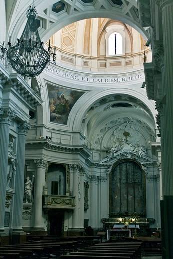 Interior view of the church of Saint Marco, of Santissimo Sacramento, neoclassical building, 1770, architect Francesco Maria Ciaraffoni, Ancona, Marche, Italy, Europe : Stock Photo