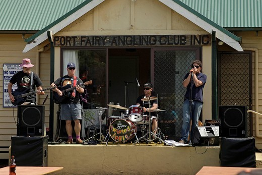 Stock Photo: 1848-411679 Live music in the Angling Club of Port Fairy, Victoria, Australia