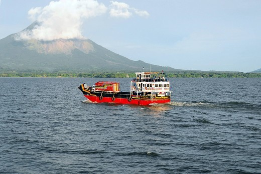 Stock Photo: 1848-411835 Ferry, El Che Guevara, in front of Concepcion Volcano, Ometepe Island, Lake Nicaragua, Nicaragua, Central America