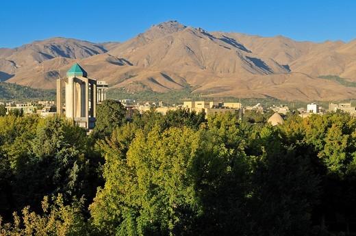 View over Hamadan, Hamedan and Zagros Mountains, Iran, Persia, Asia : Stock Photo