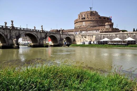 Ponte Sant´Angelo, Bridge of Angels, Tiber River, Castel Sant´Angelo, Castle of Angels, Rome, Lazio, Italy, Europe : Stock Photo