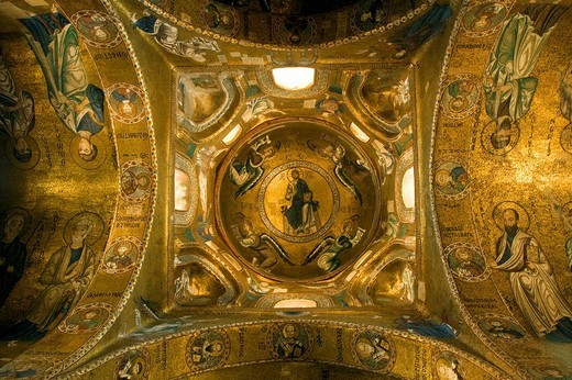Greek Byzantine gold mosaics in dome of church of the Martorana, Palermo, Sicily, Italy, Europe : Stock Photo