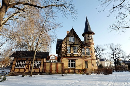 Historic waterworks from 1868, industrial building with half_timbered gables and turrets, Quedlinburg, Harz, Saxony_Anhalt, Germany, Europe : Stock Photo