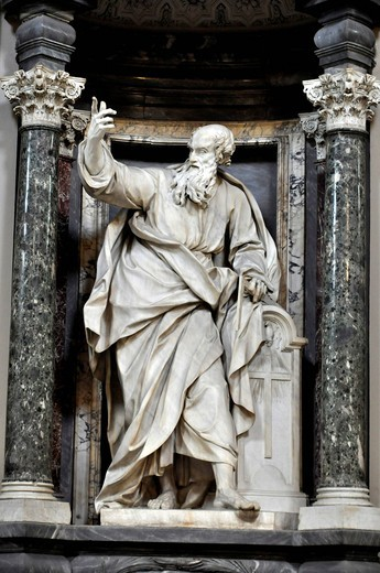 Statue of the apostle Thomas, nave, San Giovanni Basilica in Laterano, Rome, Lazio, Italy, Europe : Stock Photo