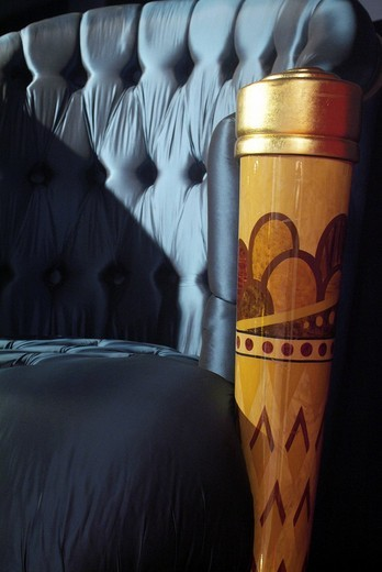 Stock Photo: 1848-412842 Detailed view of a chair leg decorated with inlays from a luxurious armchair covered with shiny silk