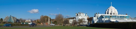 Stock Photo: 1848-412904 Panorama of Southampton from Mayflower Park with De Vere Grand Harbour Hotel, The Mayflower Memorial, Royal Yacht Club, Royal Pier, Hampshire, England, United Kingdom, Europe