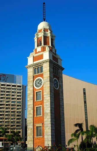 Clock Tower in front of the Cultural Center, right, Kowloon, Hong Kong, China, Asia : Stock Photo