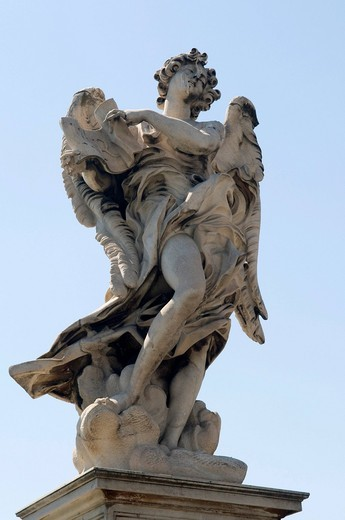 Stock Photo: 1848-413733 Angel statue on the Ponte Sant´Angelo bridge, Rome, Italy, Europe