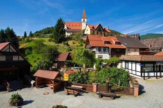 City view with Heilig_Kreuz_Kirche church, Reichental, Black Forest, Baden_Wuerttemberg, Germany, Europe : Stock Photo