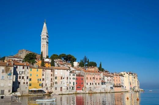 Stock Photo: 1848-41381 Rovinj historic centre with Saint Euphemia´s basilica, seen from Valdibora, Rovinj, Istria, Croatia, Europe