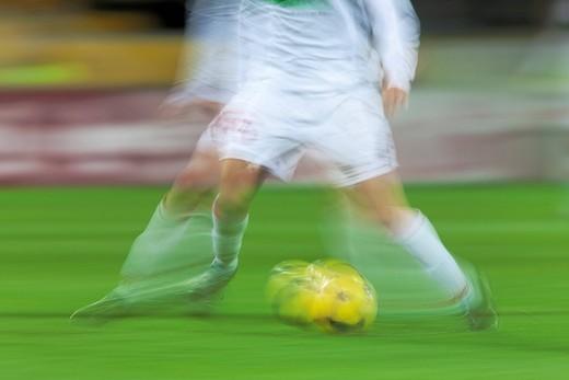 2nd Bundesliga Federal Football League, Alemannia Aachen _ Rot Weiss Ahlen football clubs, blurred match impression : Stock Photo