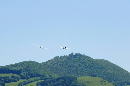 Towing aircraft with glider in front of Burg Teck castle, Kirchheim, Baden_Wuerttemberg, Germany, Europe : Stock Photo