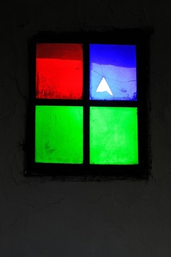 Stock Photo: 1848-414401 Church window with cracked pane, San Miguel de Balansat, Ibiza, Pine Islands, Balearic Islands, Spain, Europe