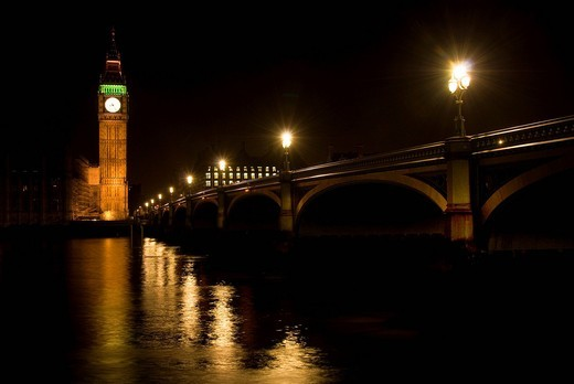Big Ben and Westminster Bridge at night, clock tower, Thames, Houses of Parliament, Palace of Westminster, London, England, United Kingdom, Europe : Stock Photo