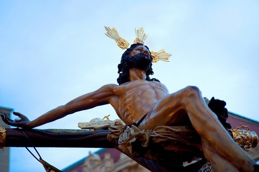 Crucified Christ, Semana Santa, Holy Week, Palma de Majorca, Majorca, Balearic Islands, Spain, Europe : Stock Photo
