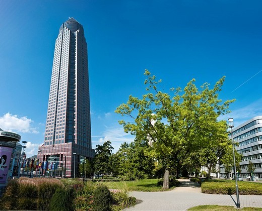 Park, Messeturm, Fair Tower, 257 meters, Westend, Frankfurt am Main, Hesse, Germany, Europe : Stock Photo