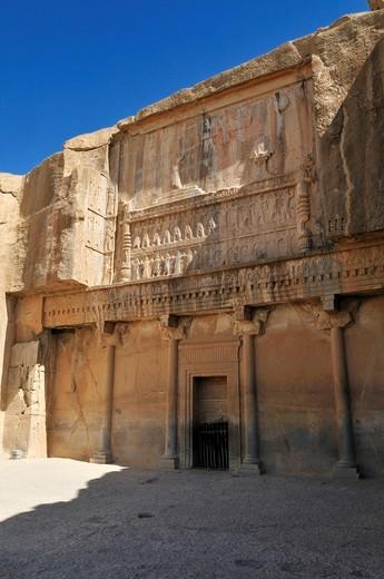Tomb of King Artaxerxes II., Achaemenid archeological site of Persepolis, UNESCO World Heritage Site, Persia, Iran, Asia : Stock Photo