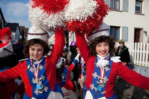 Carnival procession, two girls, about 12 years, wearing costumes, Dreieich, Hesse, Germany, Europe : Stock Photo