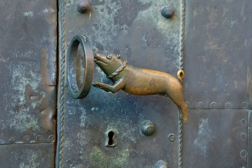 Stock Photo: 1848-41596 UNESCO World Heritage Site , door handle, church St. Servatius Quedlinburg, Saxony_Anhalt, Germany